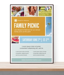 A free to download flyer template PSD that features a photo collage. Perfect for picnics and barbecues.