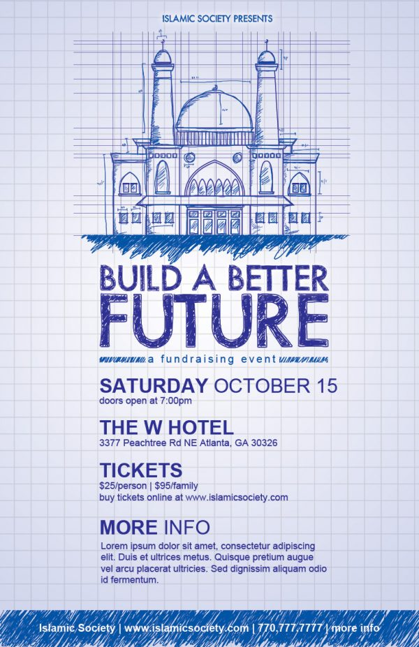 Download this flyer templates PSD for a Masjid Construction Fundraiser