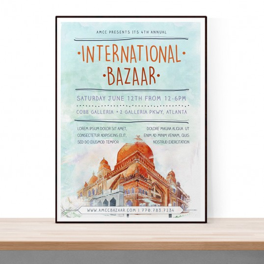 Download free flyer template PSDs. A watercolor flyer template for international multicultural bazaar.