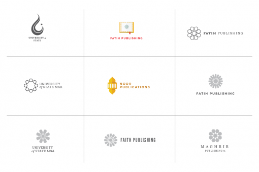 36 Geometric Minimal Logos for Masjids, Muslim Students Associations, and Muslim businesses.