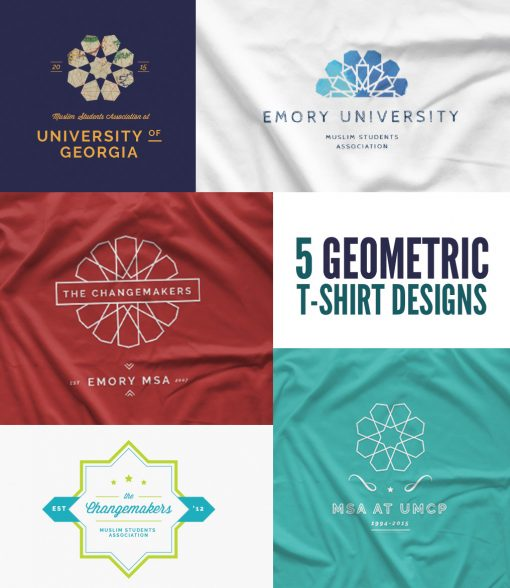 5 Islamic Geometric Minimal MSA T-Shirt Designs
